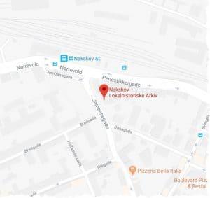 Kort over arkivet i Jernbanegade 8 i Nakskov