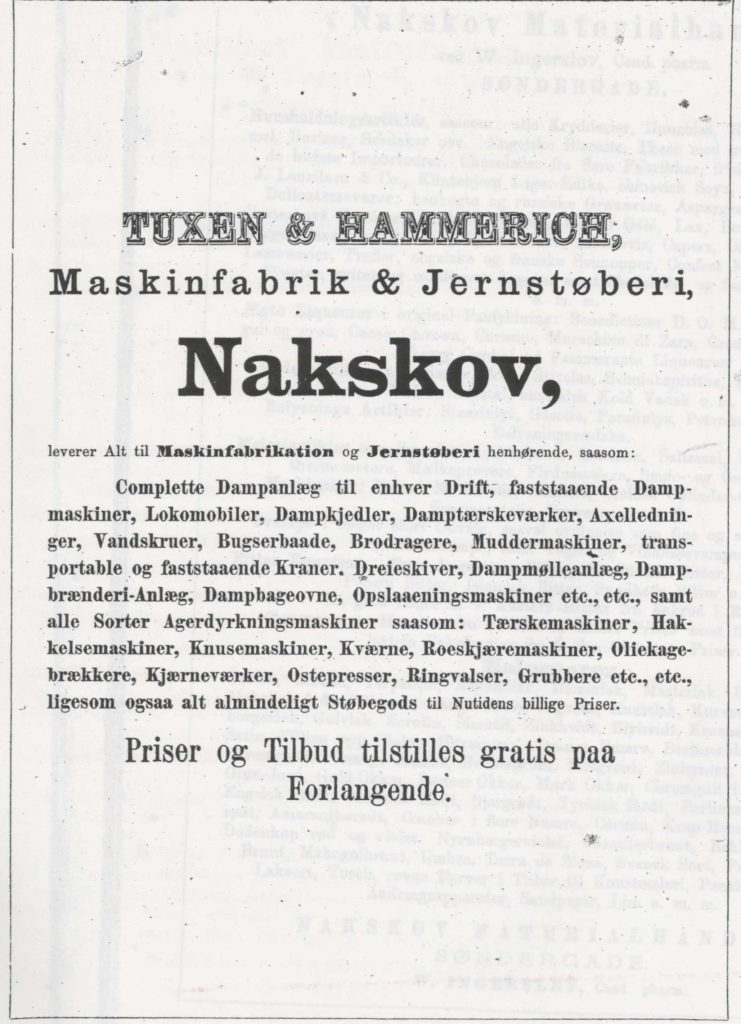 Annonce for Tuxen & Hammerich, Maskinfabrik & Jernstøberi, 1879