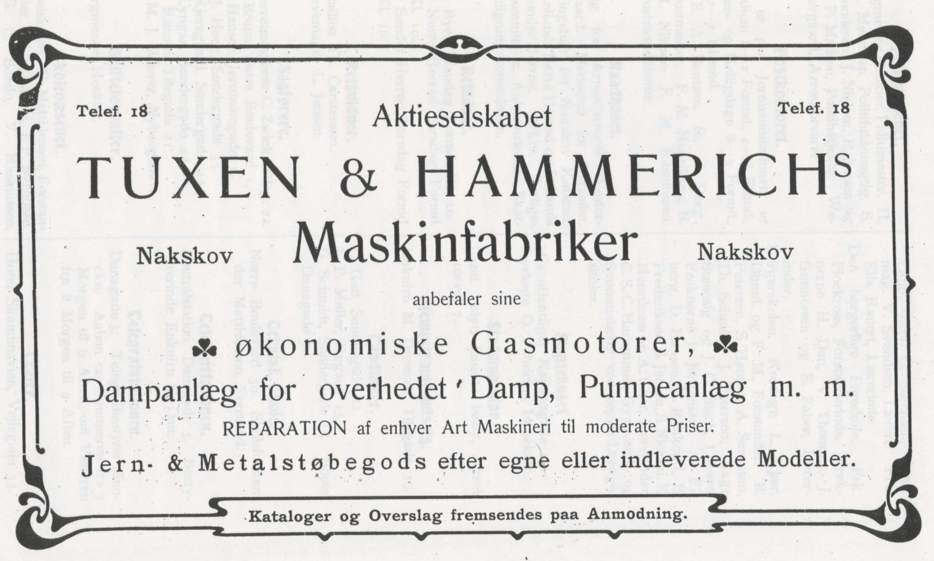 Annonce for Aktieselskabet Tuxen & Hammerichs Maskinfabrikker 1903