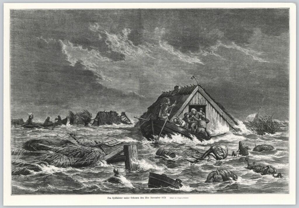 Tegning af oversvømmede huse i 1872