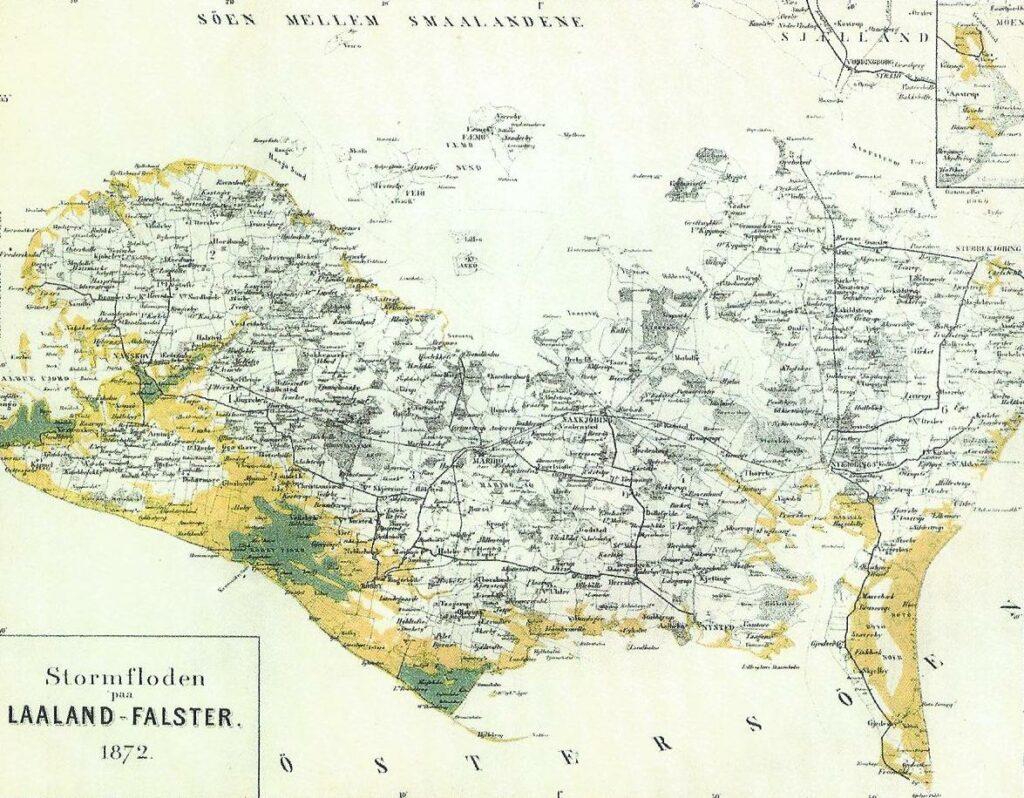 Kort over Lolland-Falster og de oversvømmede områder