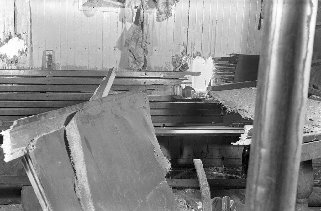Ødelæggelser ombord på et af de tre skibe