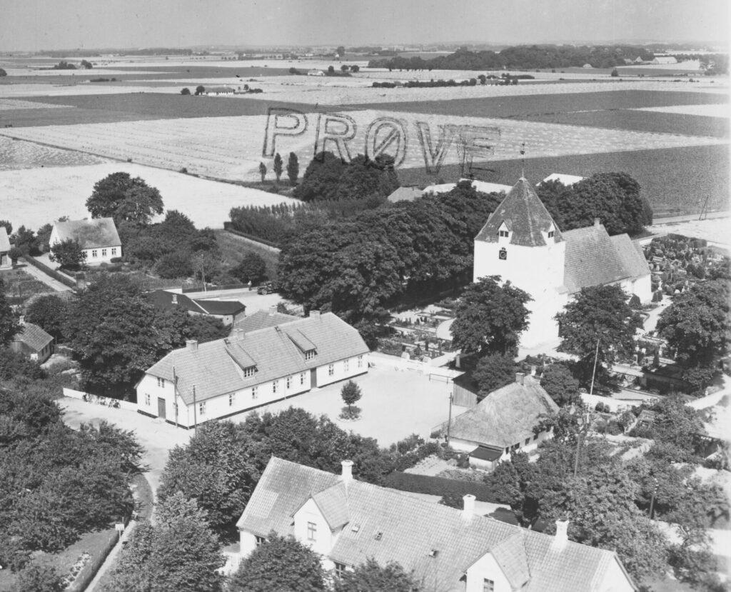 Sandby Alderdomshjem og Sandby kirke 1953