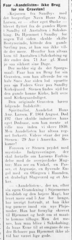 Artikel fra 15. juli 1935 om Himmelmesterens gravsten