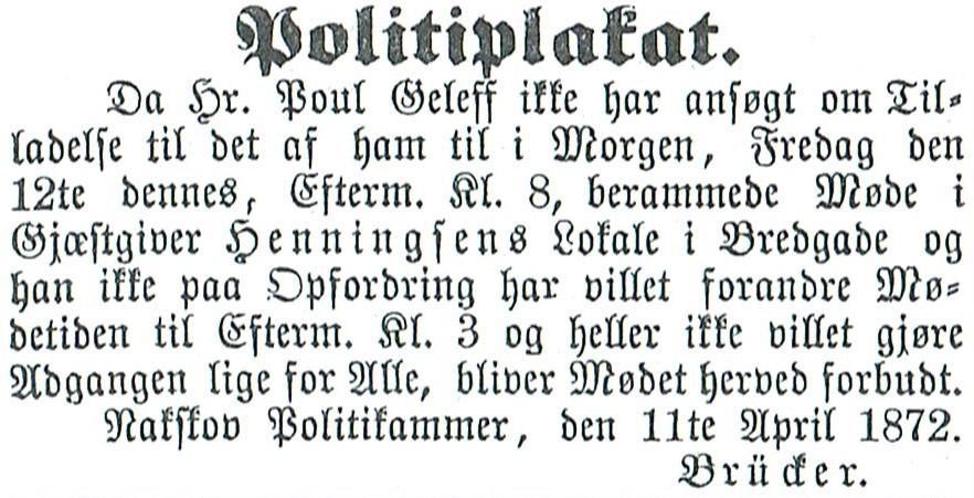 Politiplakat hvor politimester Brücker forbyder møde