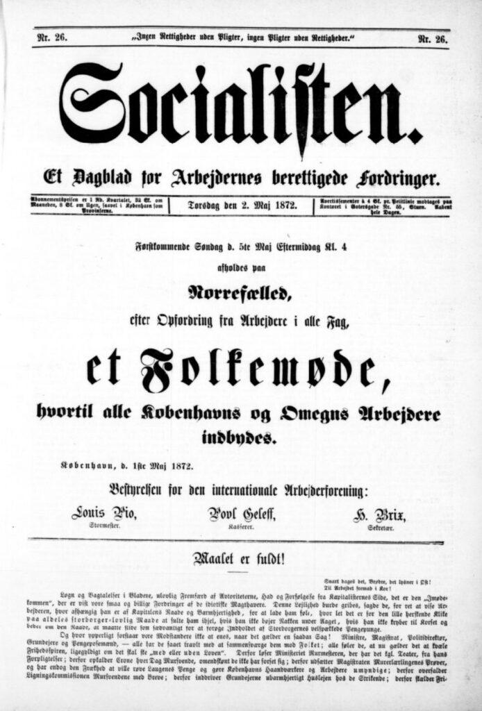 Forside på avisen Socialisten som skriver om et folkemøde 1872