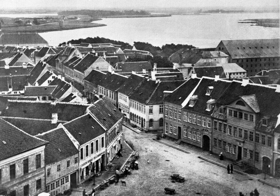 Nakskov set fra kirkens tårn ca. 1870